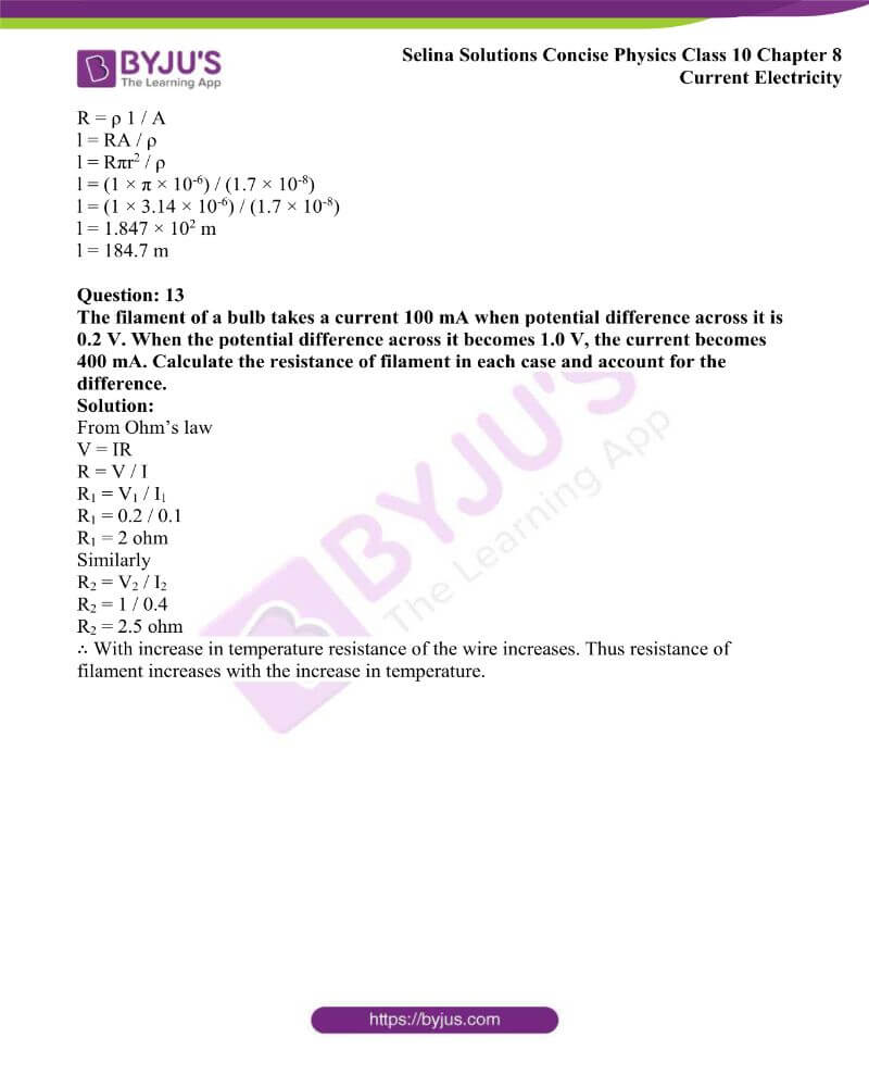 Selina Solutions Concise Physics Class 10 Chapter 8 Current Electricity 15
