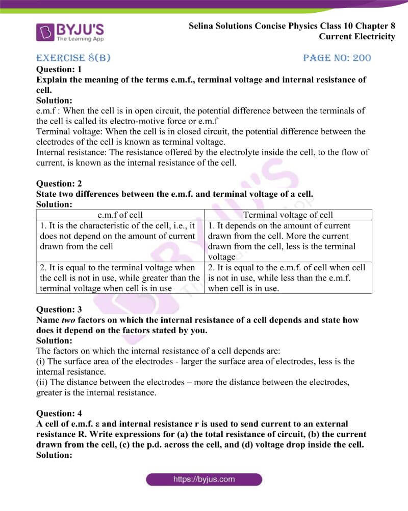Selina Solutions Concise Physics Class 10 Chapter 8 Current Electricity 16
