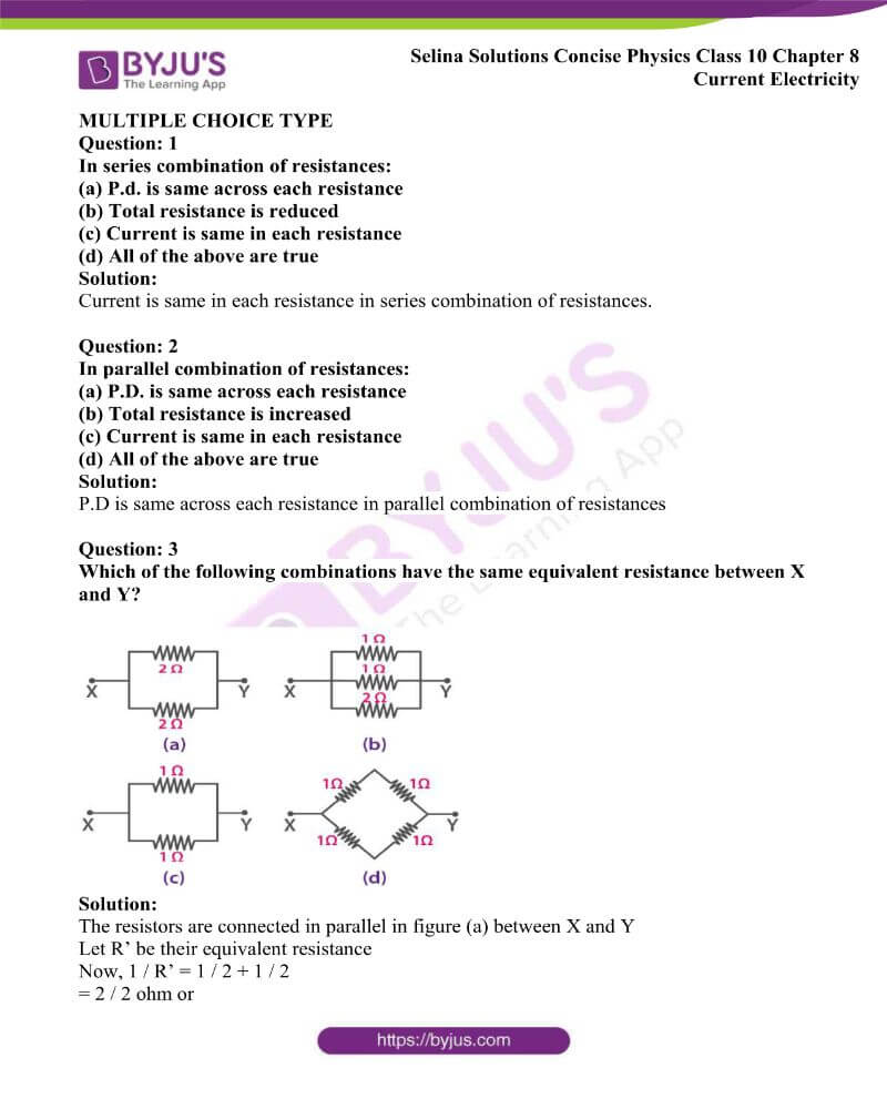 Selina Solutions Concise Physics Class 10 Chapter 8 Current Electricity 20