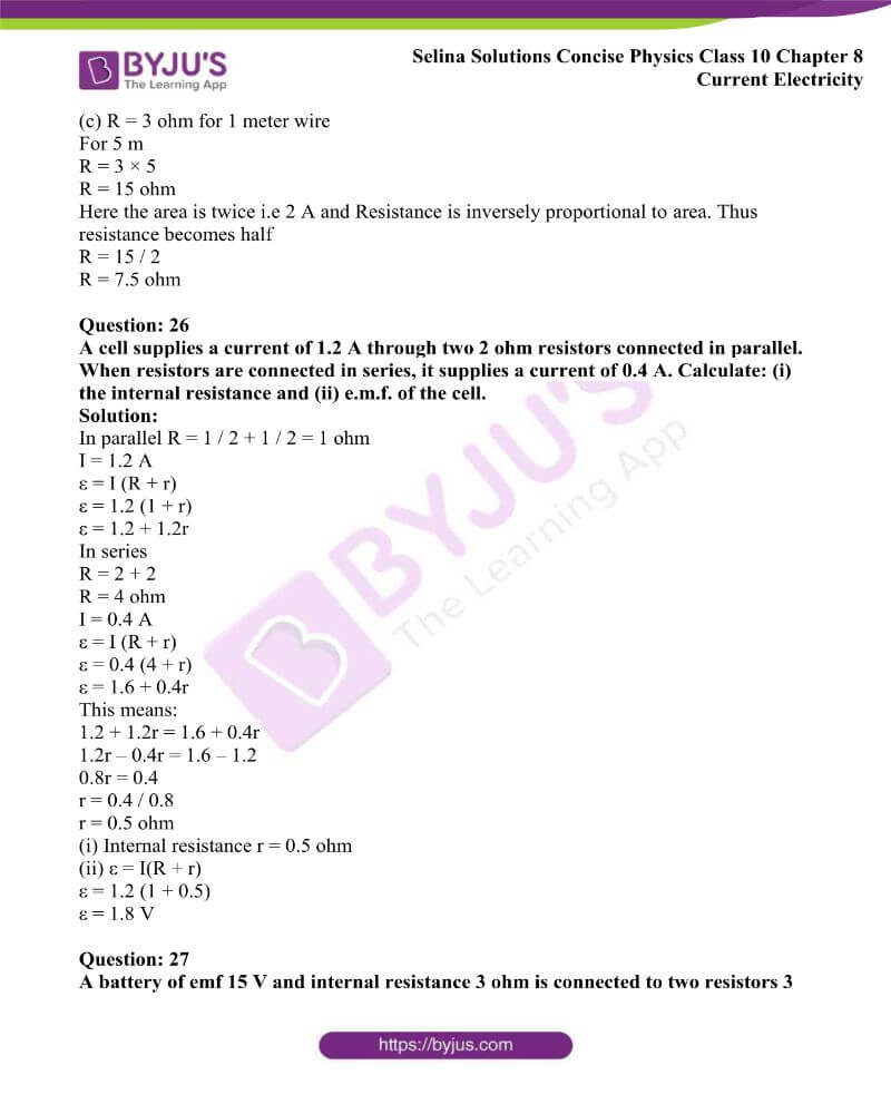 Selina Solutions Concise Physics Class 10 Chapter 8 Current Electricity 38