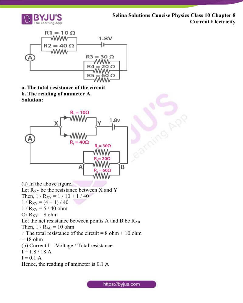 Selina Solutions Concise Physics Class 10 Chapter 8 Current Electricity 42