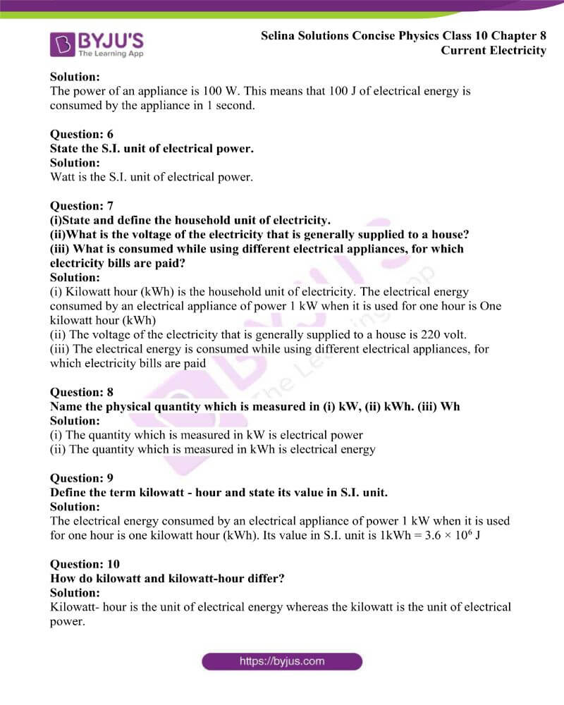 Selina Solutions Concise Physics Class 10 Chapter 8 Current Electricity 45