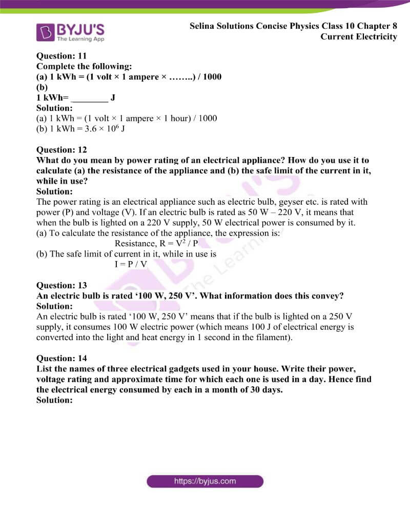 Selina Solutions Concise Physics Class 10 Chapter 8 Current Electricity 46