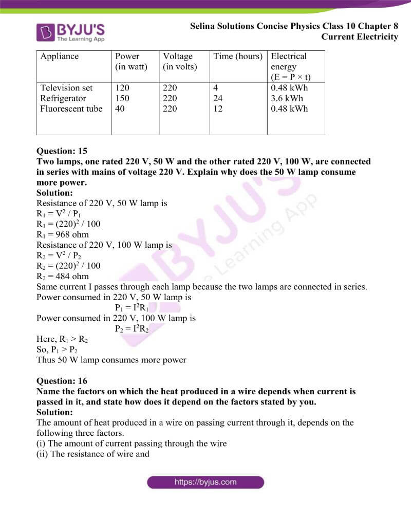 Selina Solutions Concise Physics Class 10 Chapter 8 Current Electricity 47