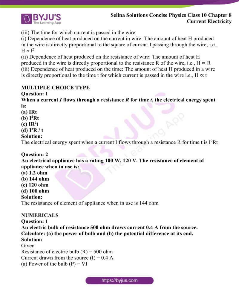 Selina Solutions Concise Physics Class 10 Chapter 8 Current Electricity 48