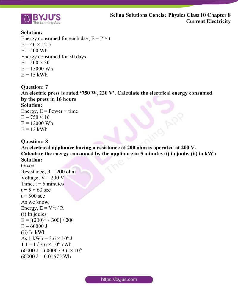 Selina Solutions Concise Physics Class 10 Chapter 8 Current Electricity 51