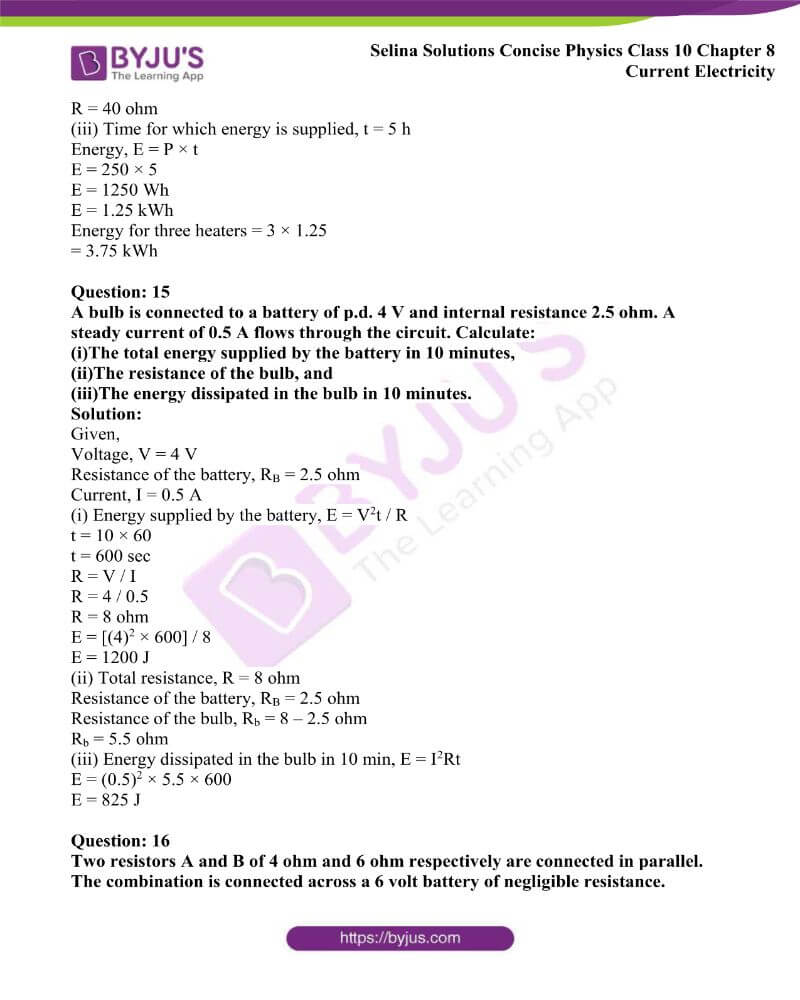 Selina Solutions Concise Physics Class 10 Chapter 8 Current Electricity 55