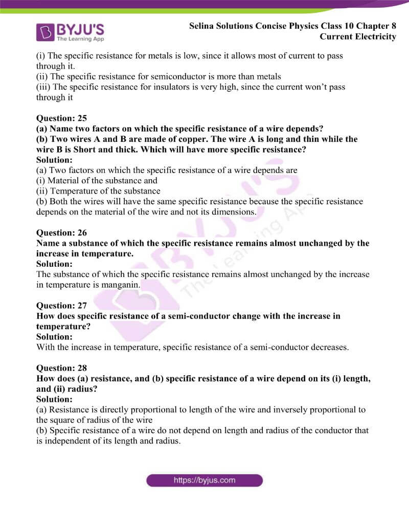 Selina Solutions Concise Physics Class 10 Chapter 8 Current Electricity 8