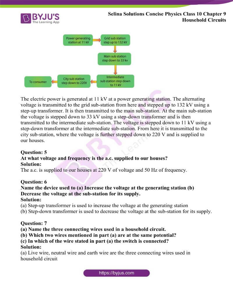 Selina Solutions Concise Physics Class 10 Chapter 9 Household Circuits 1