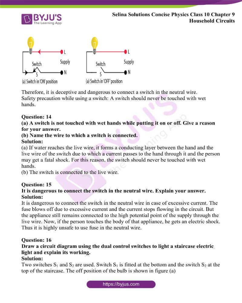 Selina Solutions Concise Physics Class 10 Chapter 9 Household Circuits 11
