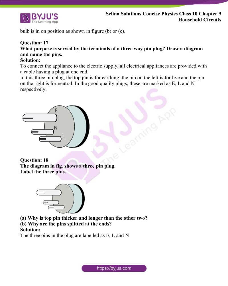 Selina Solutions Concise Physics Class 10 Chapter 9 Household Circuits 13