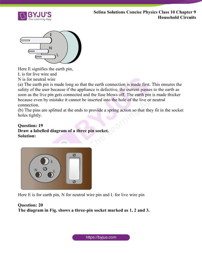Selina Solutions Concise Physics Class 10 Chapter 9 Household Circuits 14