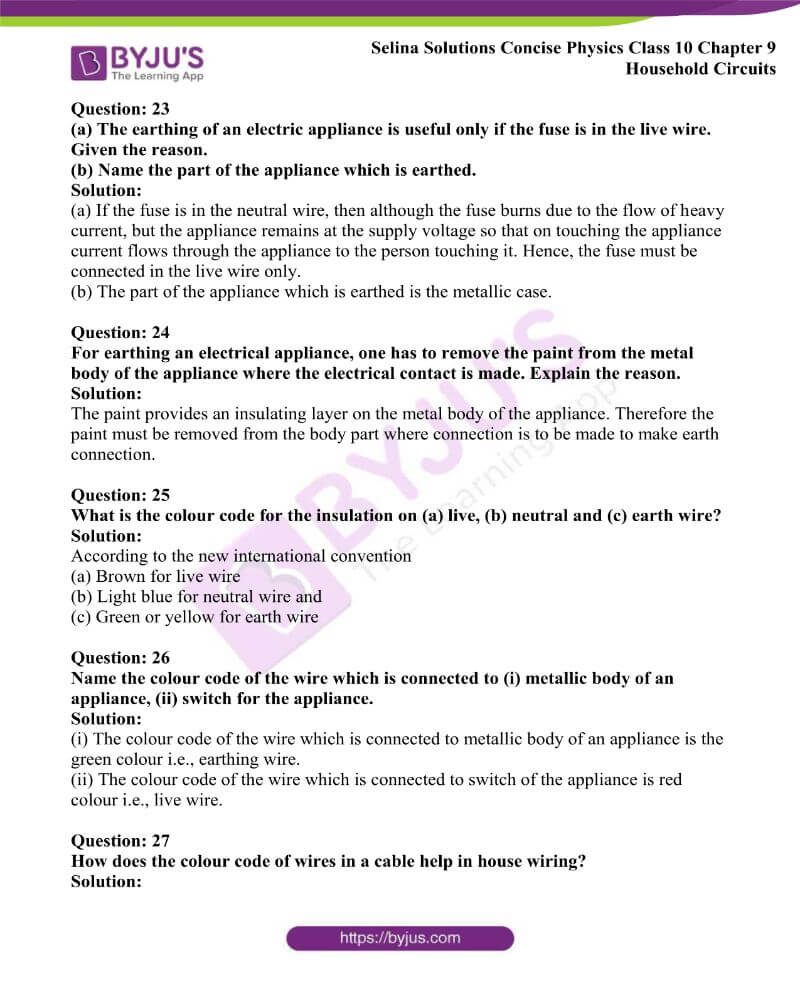 Selina Solutions Concise Physics Class 10 Chapter 9 Household Circuits 16