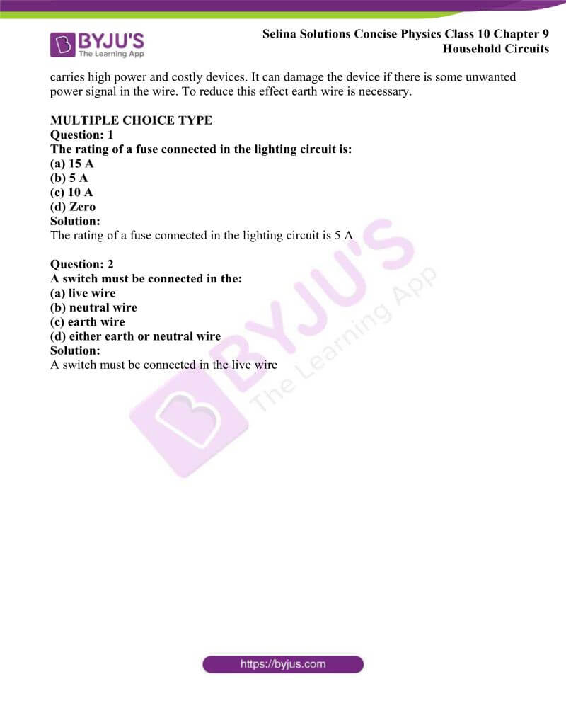 Selina Solutions Concise Physics Class 10 Chapter 9 Household Circuits 18