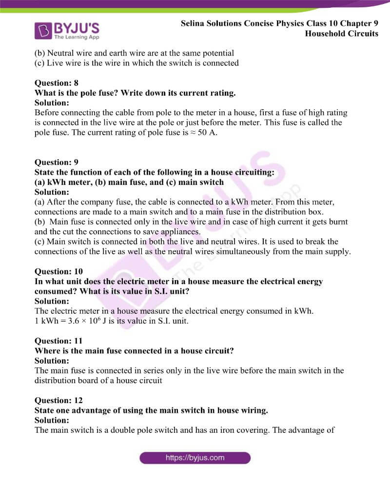 Selina Solutions Concise Physics Class 10 Chapter 9 Household Circuits 2