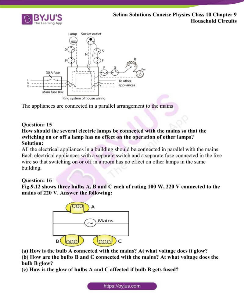 Selina Solutions Concise Physics Class 10 Chapter 9 Household Circuits 4