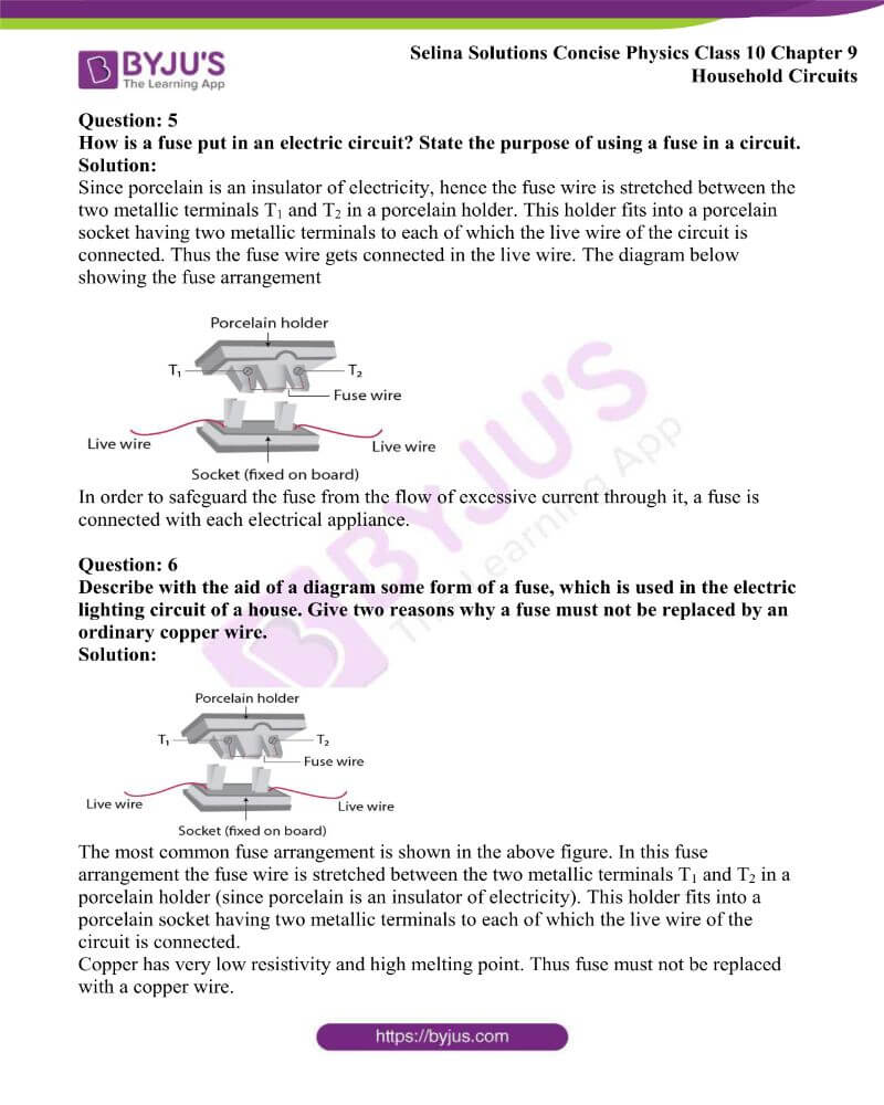 Selina Solutions Concise Physics Class 10 Chapter 9 Household Circuits 8