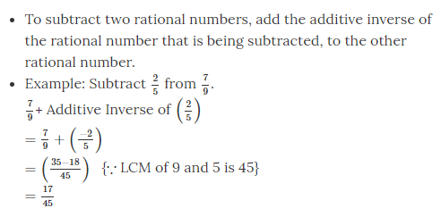 Subtraction of Rational Numbers