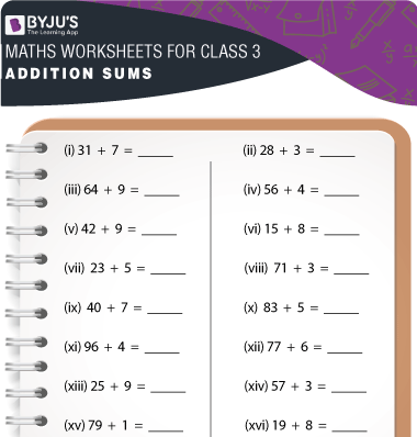 Addition Sums for Class 3 Worksheet-1