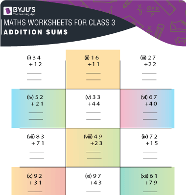 Addition Sums for Class 3 Worksheet-3