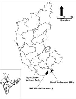 Malai Madeswara Hills, BRT Sanctuary and Rajiv Gandhi National Park in map of Karnataka