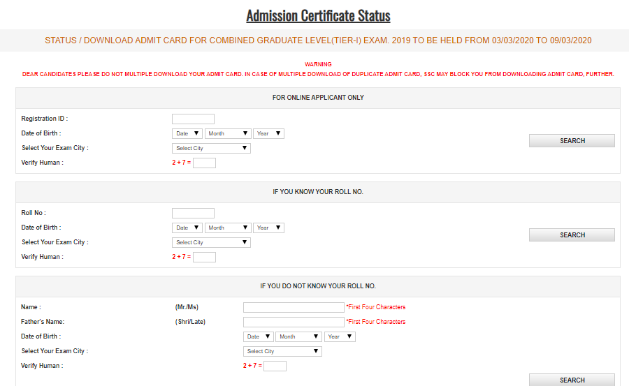 Download SSC CGL Tier 1 Admit Card