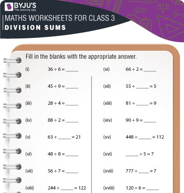Division Sums for Class 3 Worksheet-1