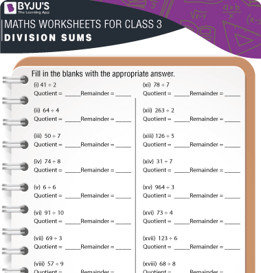 Division Sums for Class 3 Worksheet-2