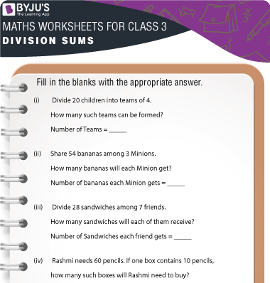Division Sums for Class 3 Worksheet-3
