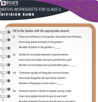 Division Sums for Class 3 Worksheet-4
