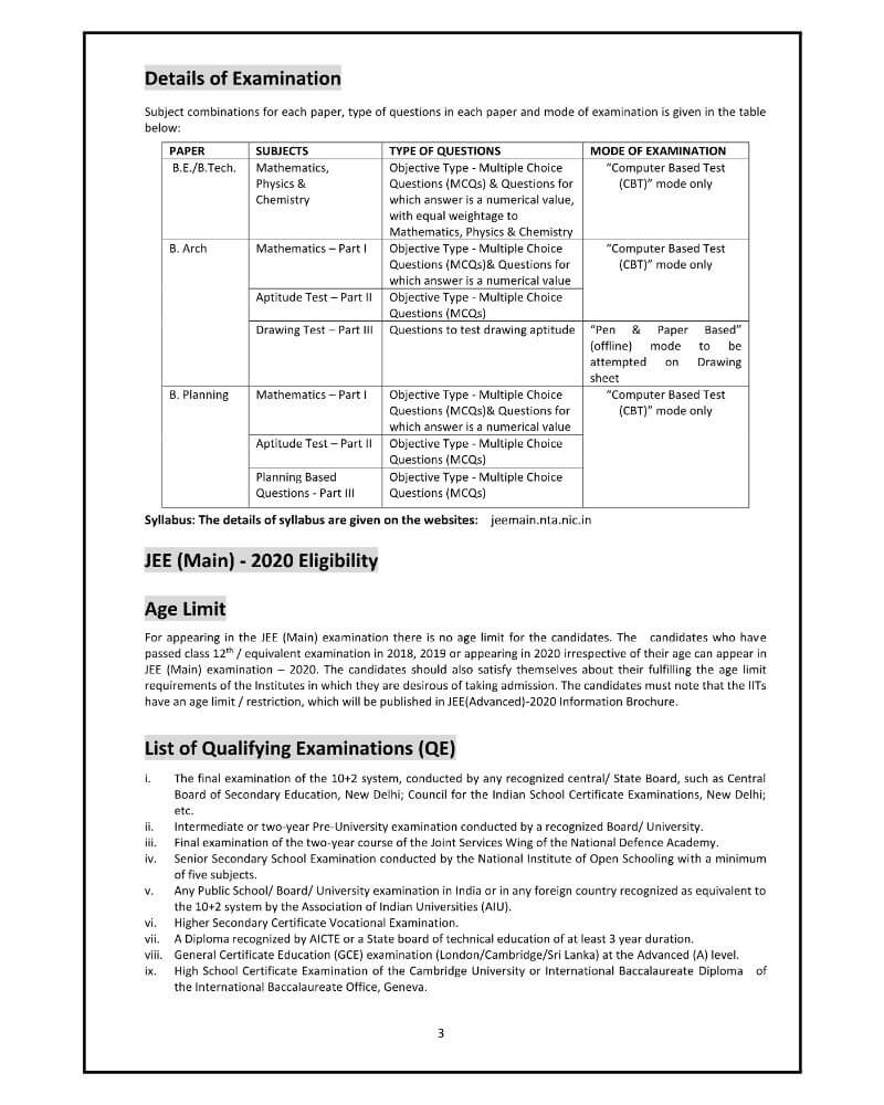 JEE Main 2020 Complete Details 2