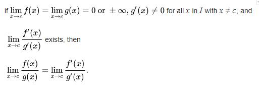 L Hospital Rule Formula