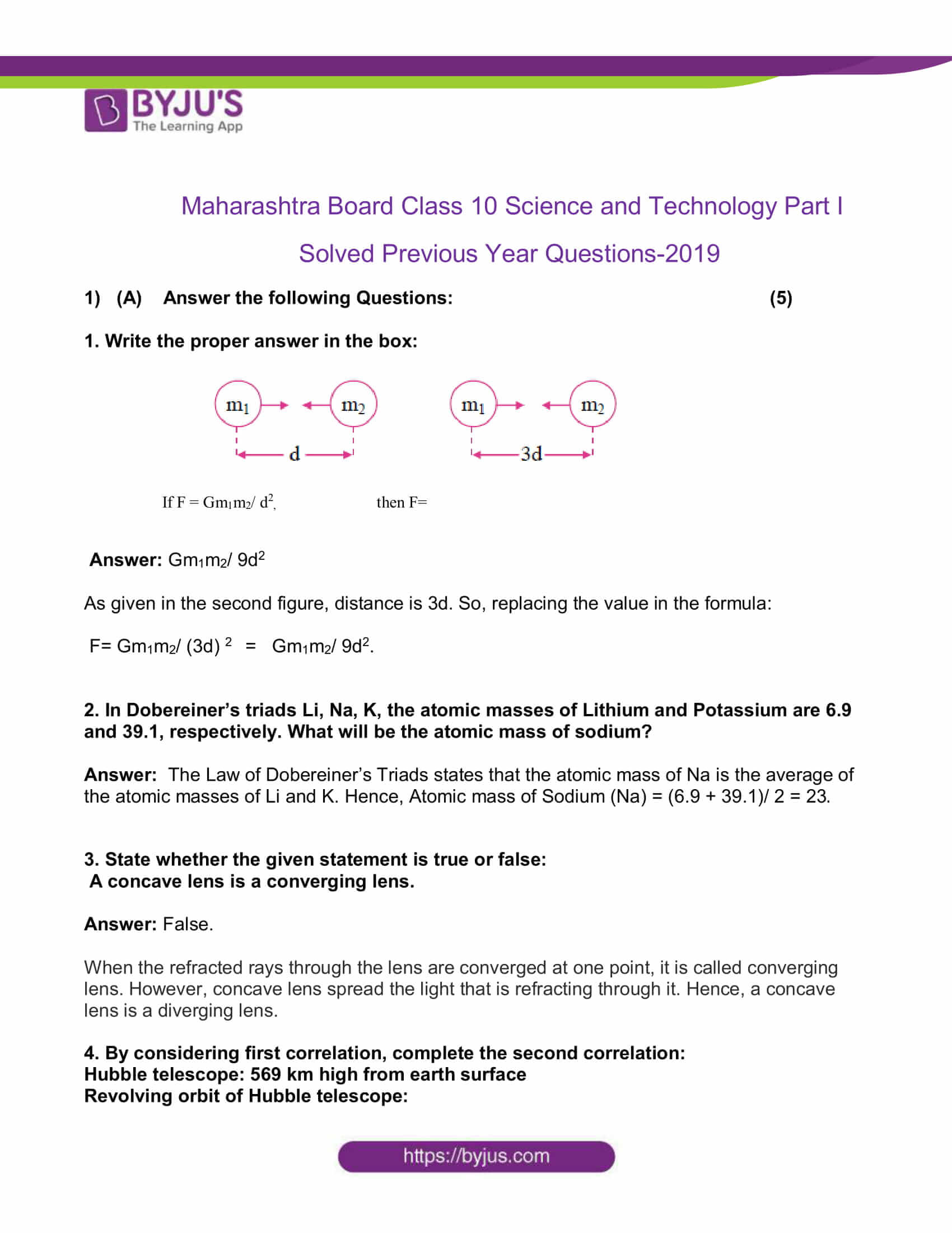 maharashtra board class 10 sci p1 previous year qs paper 2019 solved 01