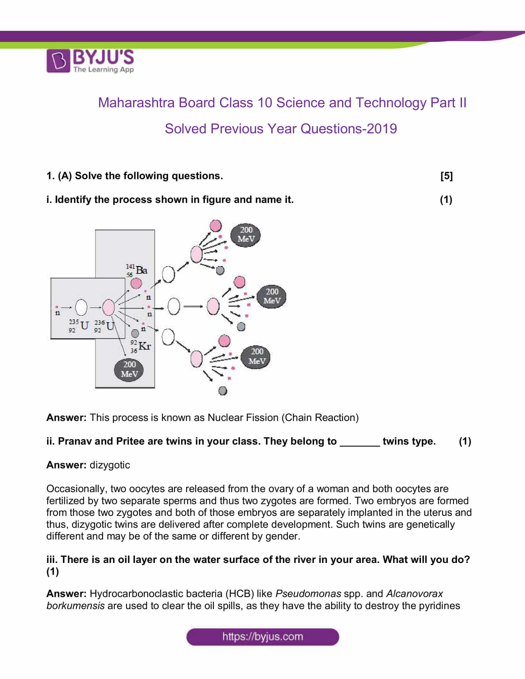 maharashtra board class 10 sci p2 previous year qs paper 2019 solved 01