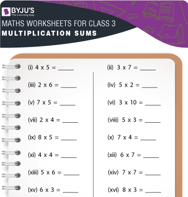 Multiplication sums for class 3 Worksheet-1