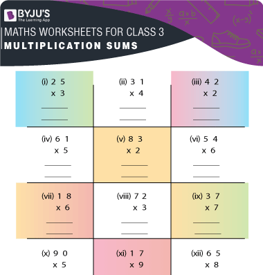 Multiplication sums for class 3 Worksheet-2