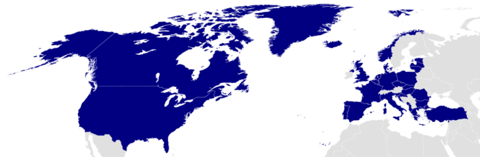 NATO member countries on world map