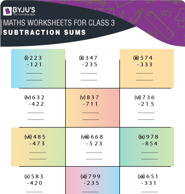Subtraction Sums for Class 3 Worksheet-3