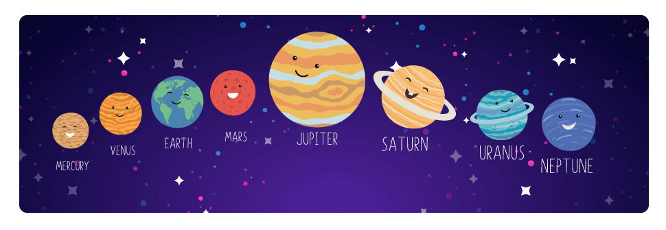 The 8 planets of the solar system