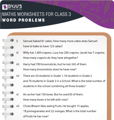 Word Problems for Class 3 Worksheet-2