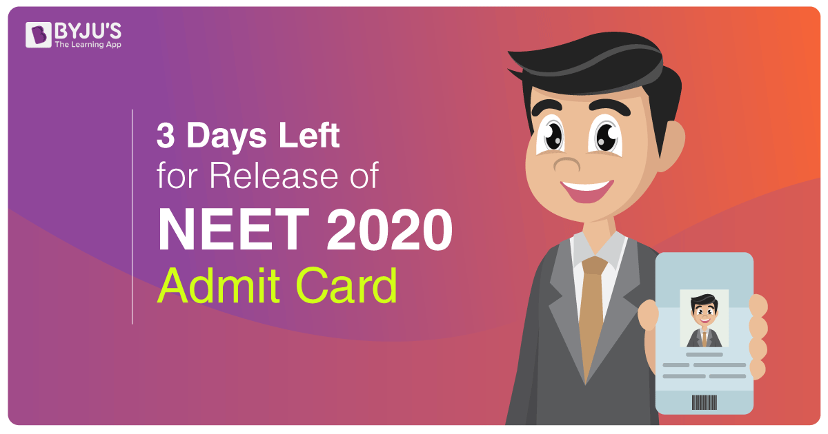Three More Days To Go For The Release Of NEET Admit Card 2020
