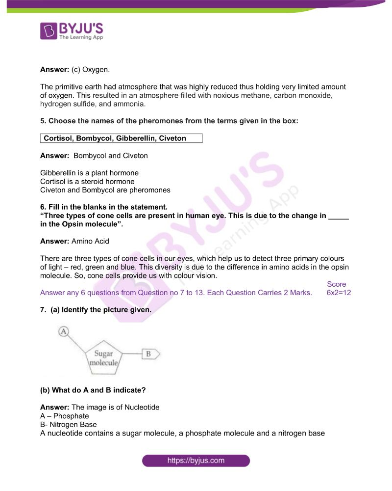 Kerala Board Class 10 Biology Solved Previous Year Paper 2018 1