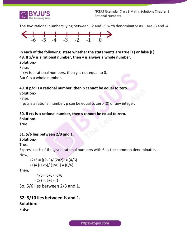 NCERT Exemplar Class 8 Maths Solutions Chapter 1 Rational Numbers 10