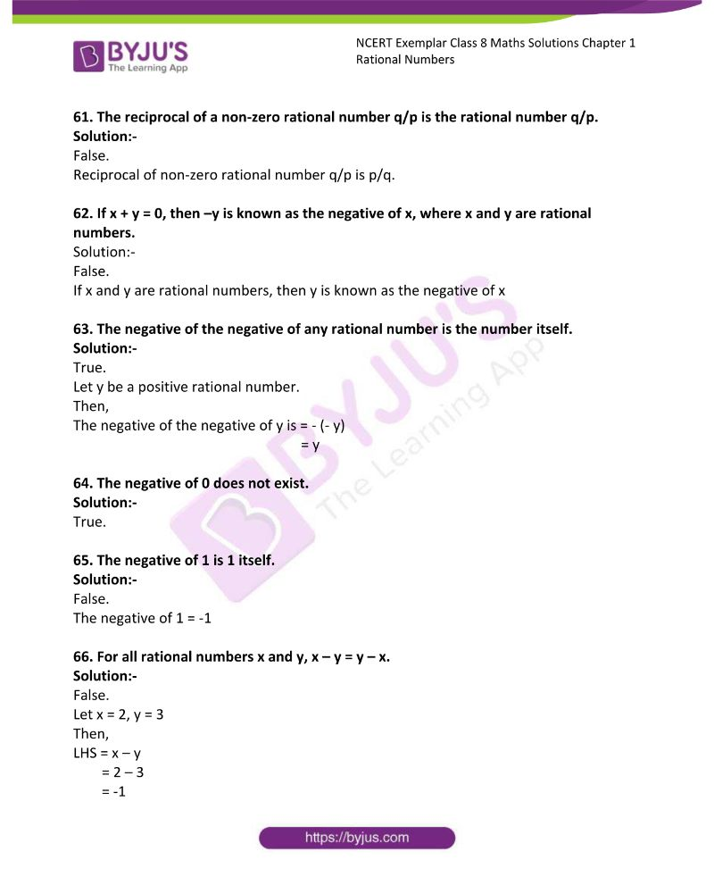 NCERT Exemplar Class 8 Maths Solutions Chapter 1 Rational Numbers 13