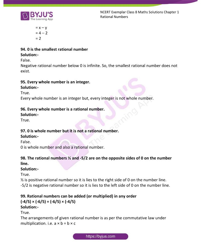 NCERT Exemplar Class 8 Maths Solutions Chapter 1 Rational Numbers 19