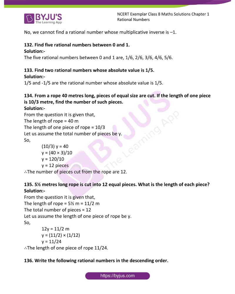 NCERT Exemplar Class 8 Maths Solutions Chapter 1 Rational Numbers 42