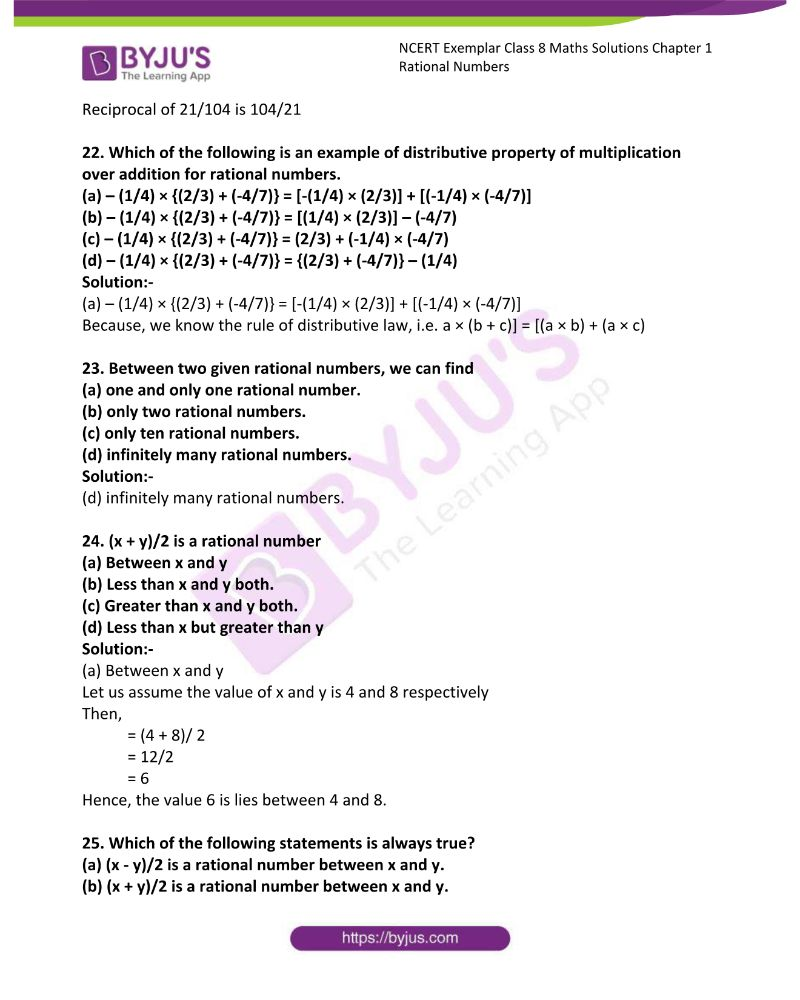 NCERT Exemplar Class 8 Maths Solutions Chapter 1 Rational Numbers 5