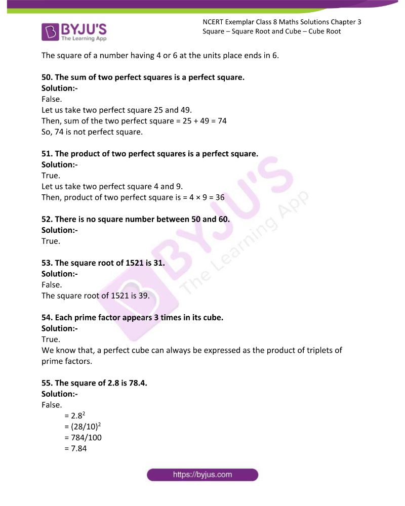 NCERT Exemplar Class 8 Maths Solutions Chapter 3 Square Square Root and Cube Cube Root 10