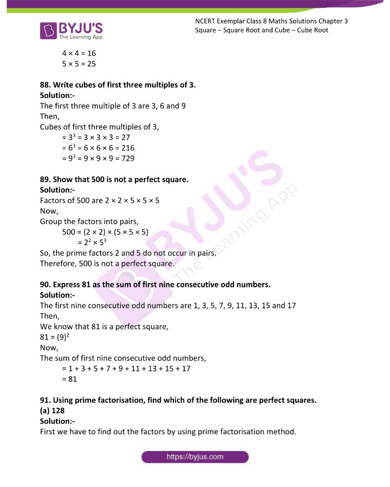 NCERT Exemplar Class 8 Maths Solutions Chapter 3 Square Square Root and Cube Cube Root 17
