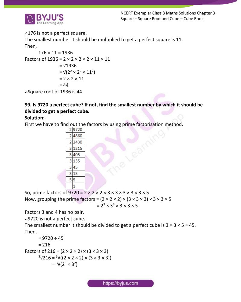NCERT Exemplar Class 8 Maths Solutions Chapter 3 Square Square Root and Cube Cube Root 25